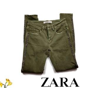 Zara Mid Rise Distressed Glitter Skinny Jeans